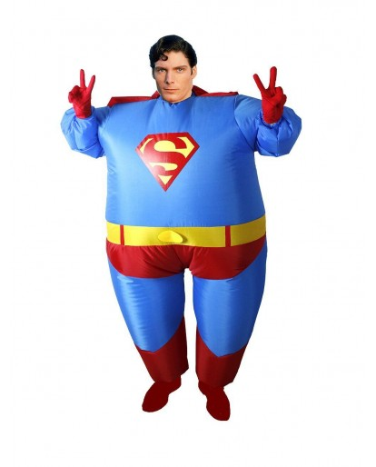 2018 Inflatable Fat Superman Costume Superhero Adult size Airblown Halloween Cosplay Suit