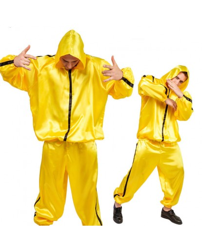 Funny Hip-pop Costume Yellow Oufits Adult 90s Pop Star Halloween Fancy Dress