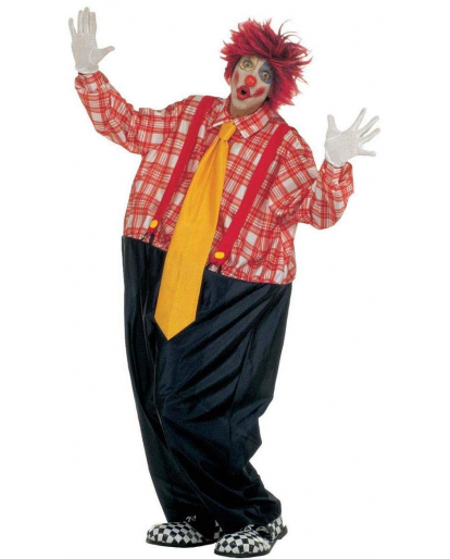 Mens Fat Clown Costume Carnival Pageant Amusement Park Fancy Dress Halloween Costume