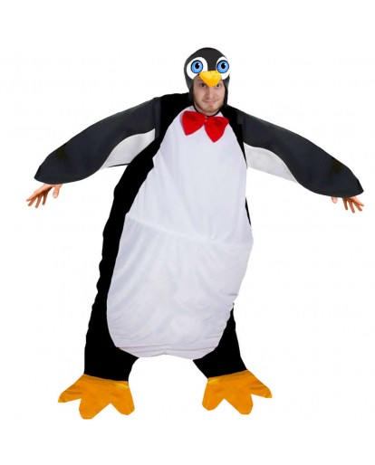 Adult Penguin Costume Fat Mens & Ladies Unisex Festive Christmas Fancy Dress
