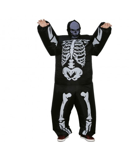Skeleton Inflatable Blow Up Costume Fat Guy Halloween Cosplay Party Fancy Dress