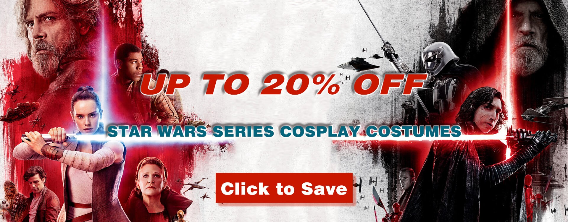 Select Star Wars Cosplay Costumes for for men and women with up to 20% off