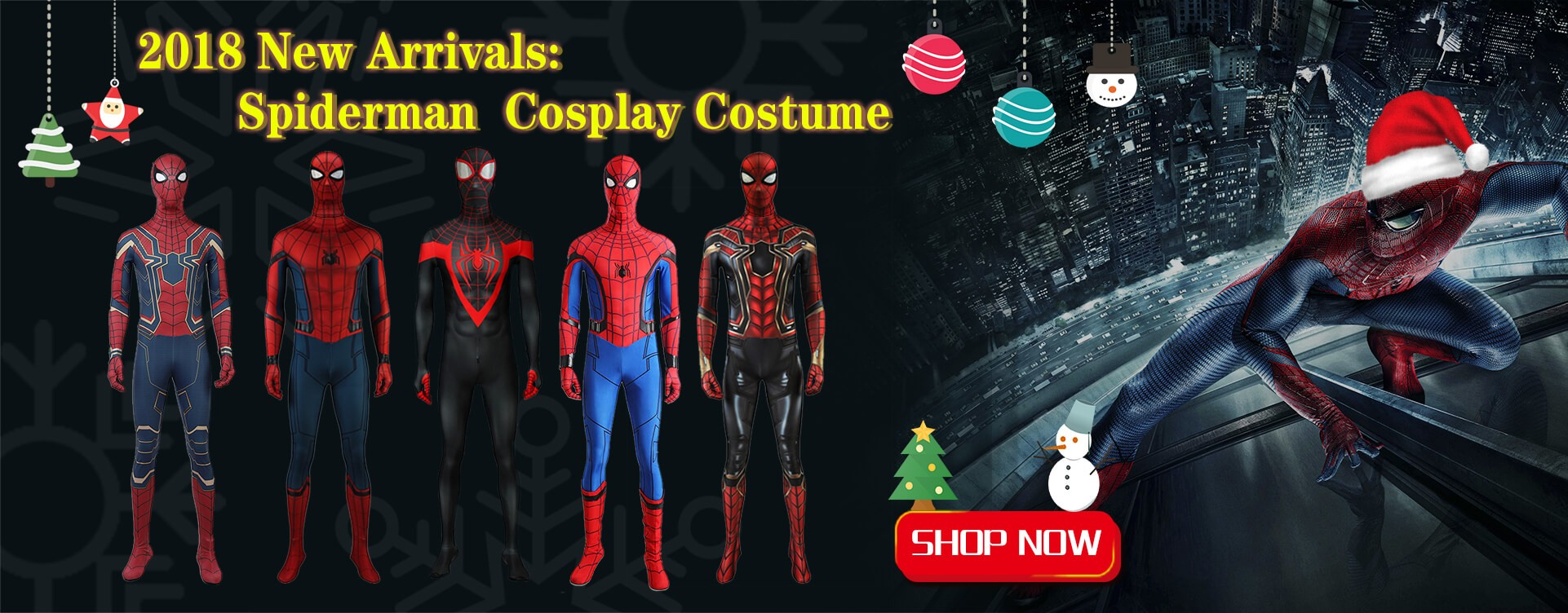 2018 New Arrivals: Spiderman Cosplay Costume Fullbody Jumpsuit