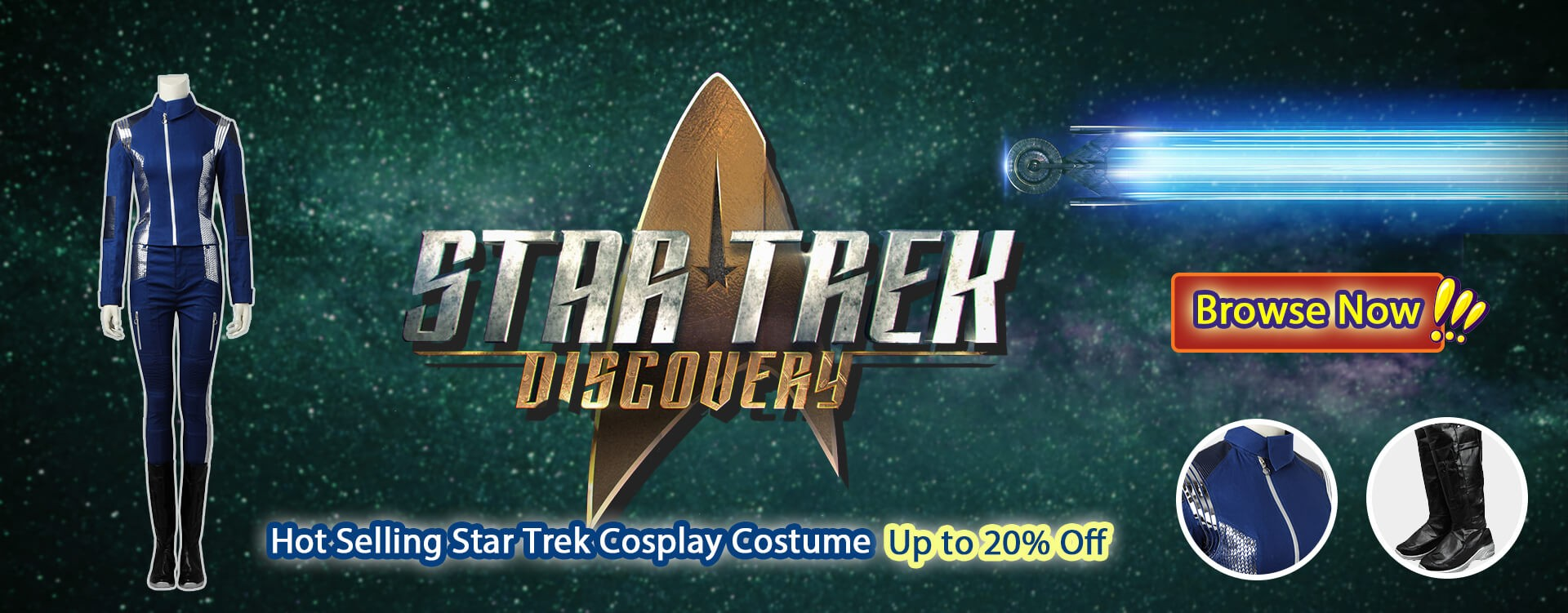 Hot Selling Star Trek Cosplay Costume Up to 20% Off